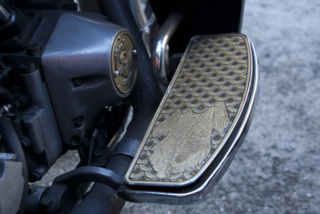 Fish Scale Brass Floorboard Insert on Harley-Davidson FXRD