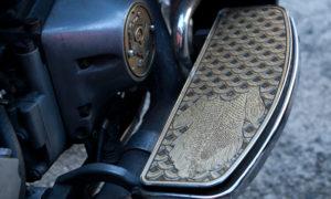 brass fish scale Harley-Davidson floorboard insert