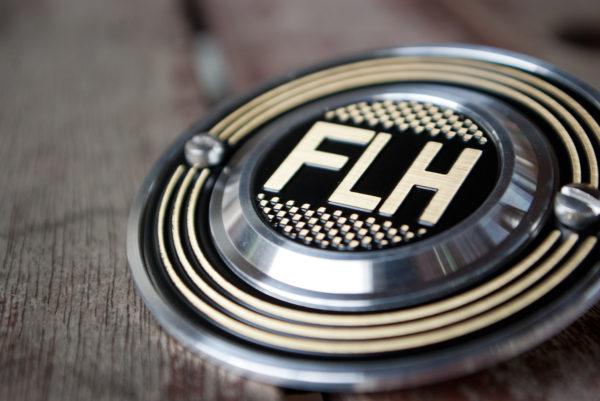 Harley-Davidson FLH checker flag brass point cover