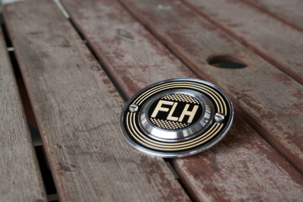 Harley-Davidson FLH checker flag brass and aluminum point cover